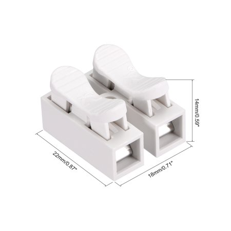 Spring Wire Connectors, Quick Connector Terminal Block, 2 Positions 30pcs - image 3 of 8