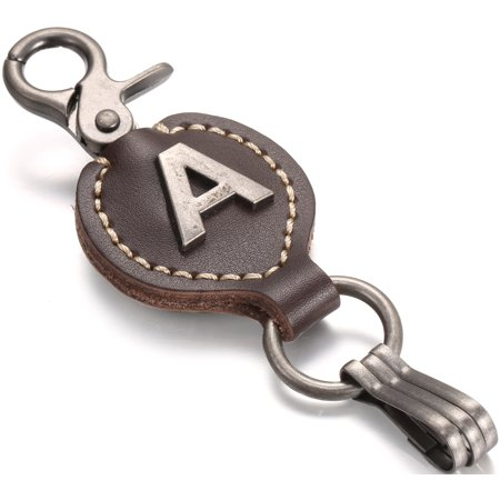 Marino Brown Leather Monogram Keychain, Single Letter with Easy Clasp Key (Leather Keychain Key)