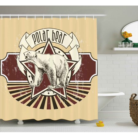 Animal Shower Curtain Vintage Retro Polar Bear Label With Bold Stripes Artwork Image Fabric