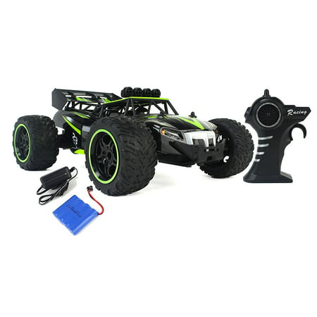 (Gallop Ghost Top Speed Remote Control 2.4 GHz RC Green Toy Buggy Car 1:14 Scale Size Ready To Run w/ Working Suspension, Spring Shock Absorbers)
