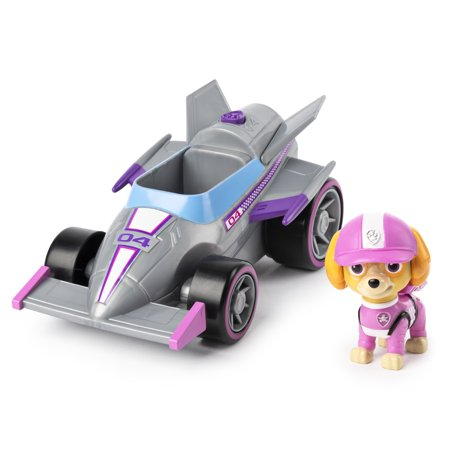 PAW Patrol, Ready, Race, Rescue Skyes Race & Go Deluxe Vehicle with Sounds, for Kids Aged 3 and Up,