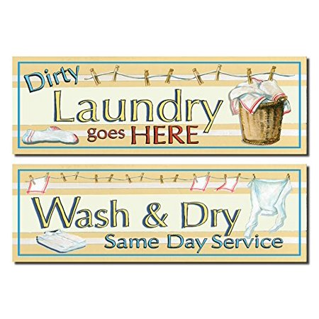 Retro Dirty Laundry and Wash and Dry Signs; Laundry Room Decor; Two 18X6 Poster (Retro Room Decor)