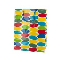 Kole Imports KL367-48 7 x 4 x 9.375 in. Medium Multi-Colored Dots Gift Bag, Pack of 48