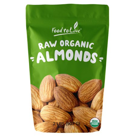 Italian Organic Almonds, 2 Pounds - Kosher, Non-GMO, Raw, Sproutable, Vegan  - by Food to Live