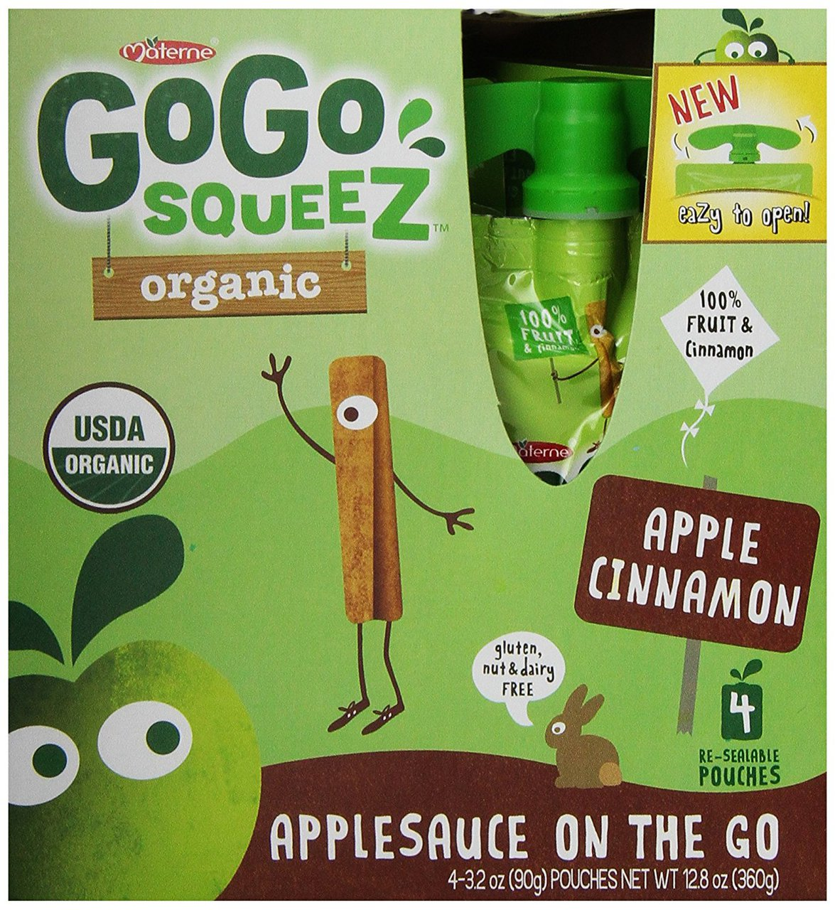 12 PACKS : GoGo squeeZ Organic - Apple Cinnamon - 3.2oz, 4 pk