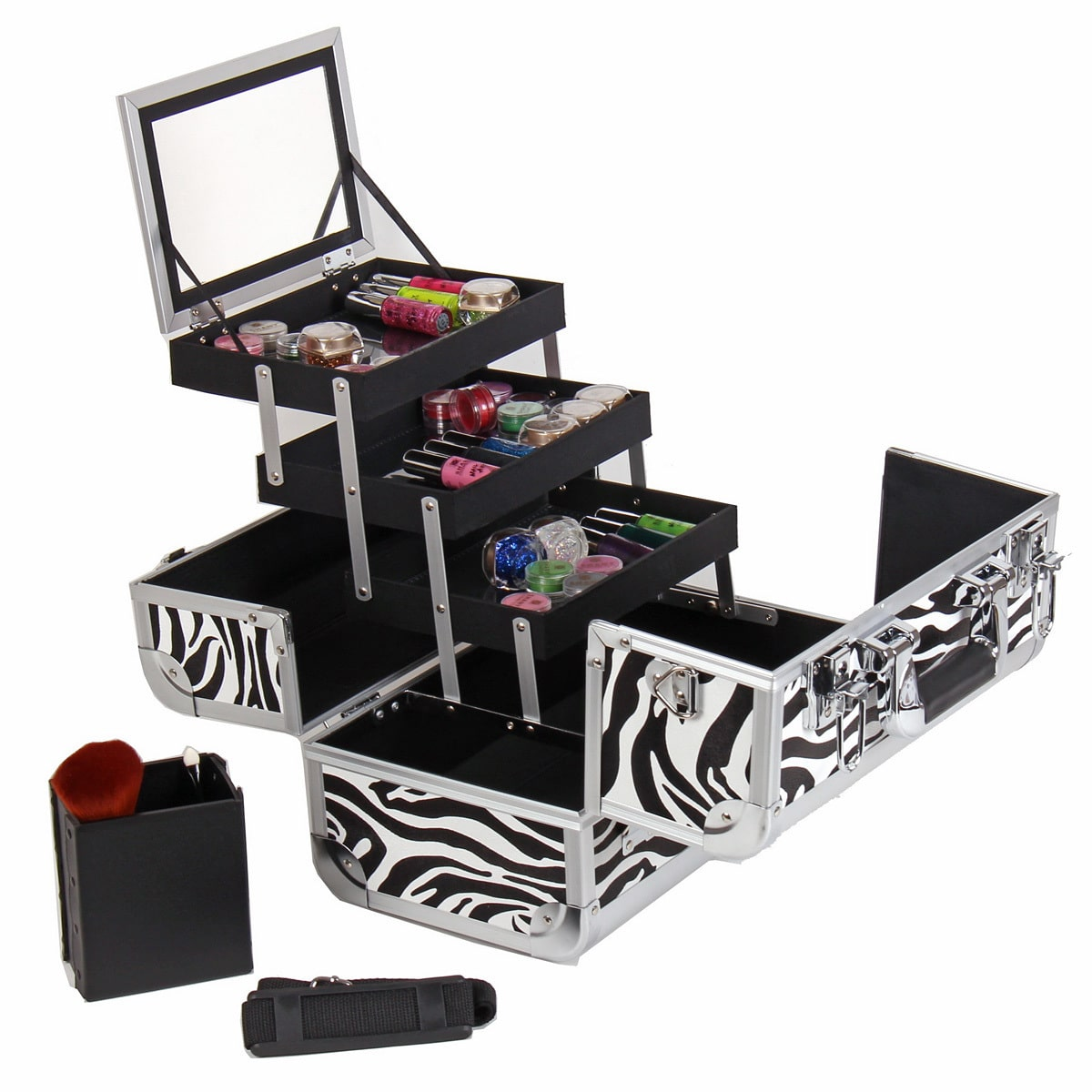Shany Cosmetics Shany Zebra Premium Makeup Train Case