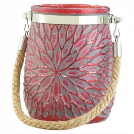 Flower Candle Holder with Rope Handle - Red ()