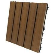 "EON Ultra 12""x12"" Polymer Interlocking Deck Balcony Tiles, Dark Brown (10 Pack)"