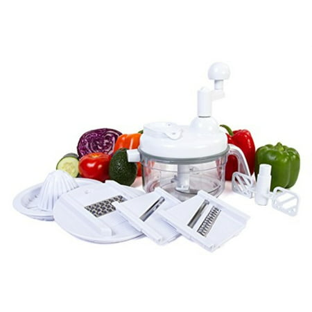 Ultra Chef Express Food Chopper - 7 in 1 Manual Food Processor Chop, Blend, Whip, Shred, and Juice