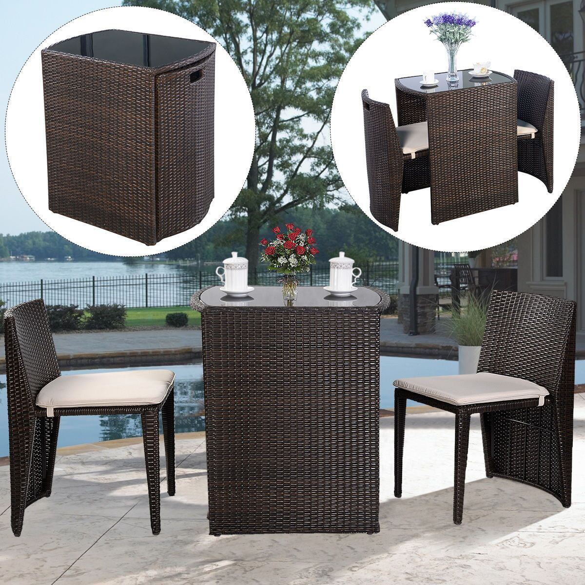 Costway 3 PCS Cushioned Outdoor Wicker Patio Set Garden Lawn Sofa Furniture Seat Brown by Costway