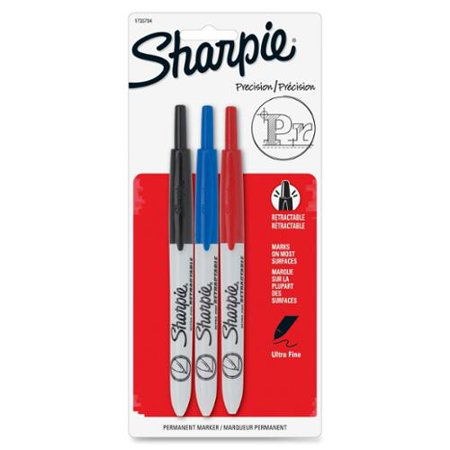 Sharpie Retractable Ultra Fine Tip Permanent Marker, Black, Blue, Red, (Sharpie Ultra Fine Tip Marker)
