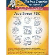 Java Break Aunt Martha's Hot Iron Embroidery Transfer