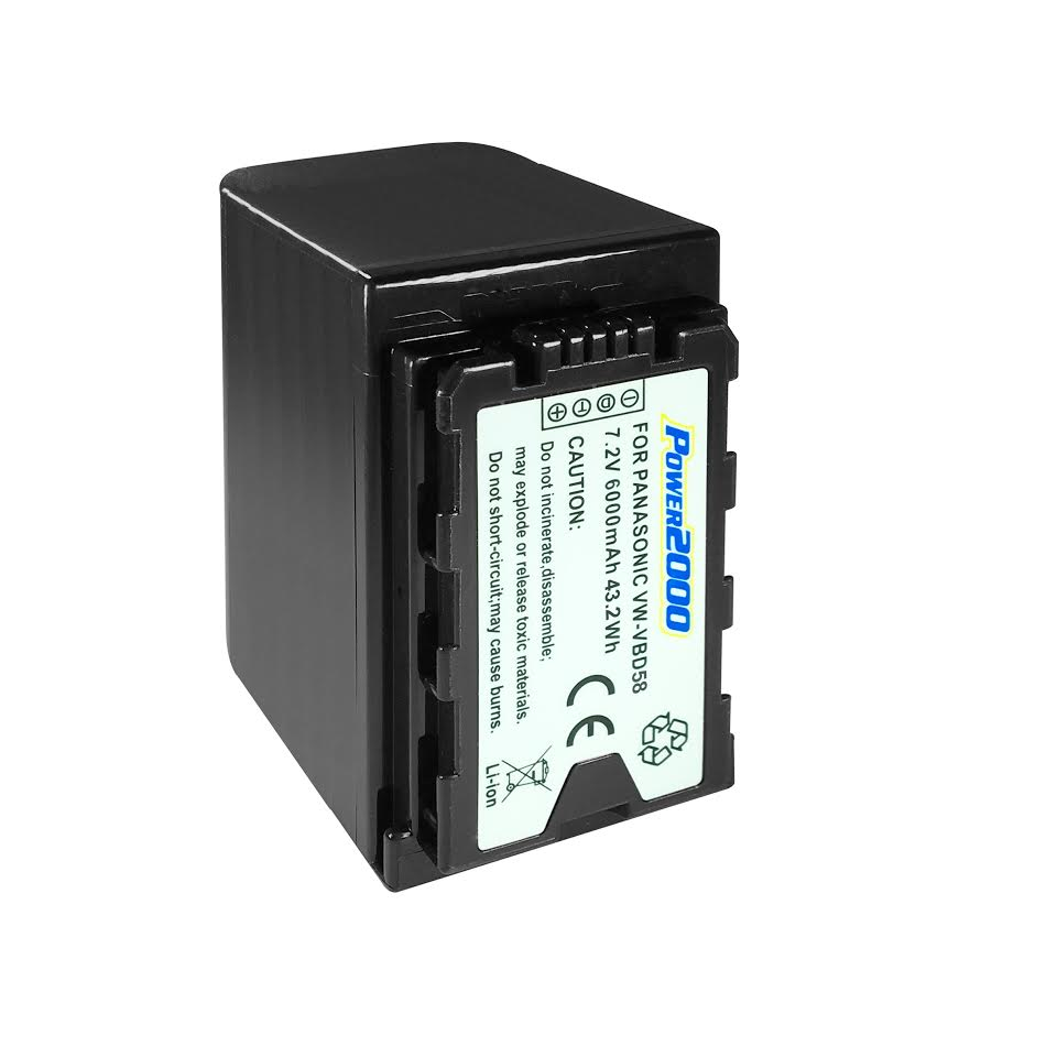 Panasonic AG-DVC180 Camcorder Battery Lithium-Ion Battery Pack (7.2V 6000mAh) - Replacement for Panasonic VW-VBD58 Camcorder Battery