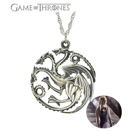 HBO Game of Thrones Necklace Pendant - Silver Targaryen - TV Series Show Cosplay Jewelry by Superheroes (Necklace Game)