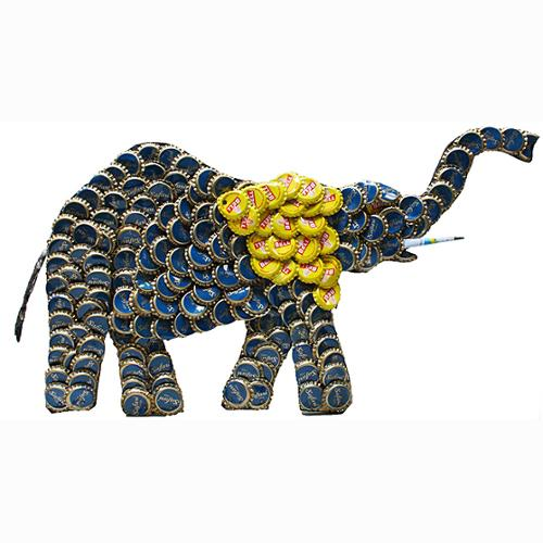 Stoneage Arts Refurbished Handmade Recycled Bottle Cap 12-inch Elephant Wall Plaque (Kenya)