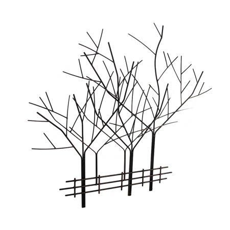 Iron Wall Sculptures - Aged Copper Finished Wrought Iron Winter Tree Wall Sculpture