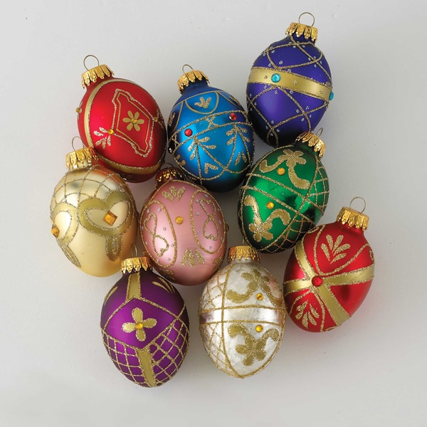 Kurt Adler 45Mm Glass Decorative Egg Ornament 9Pc