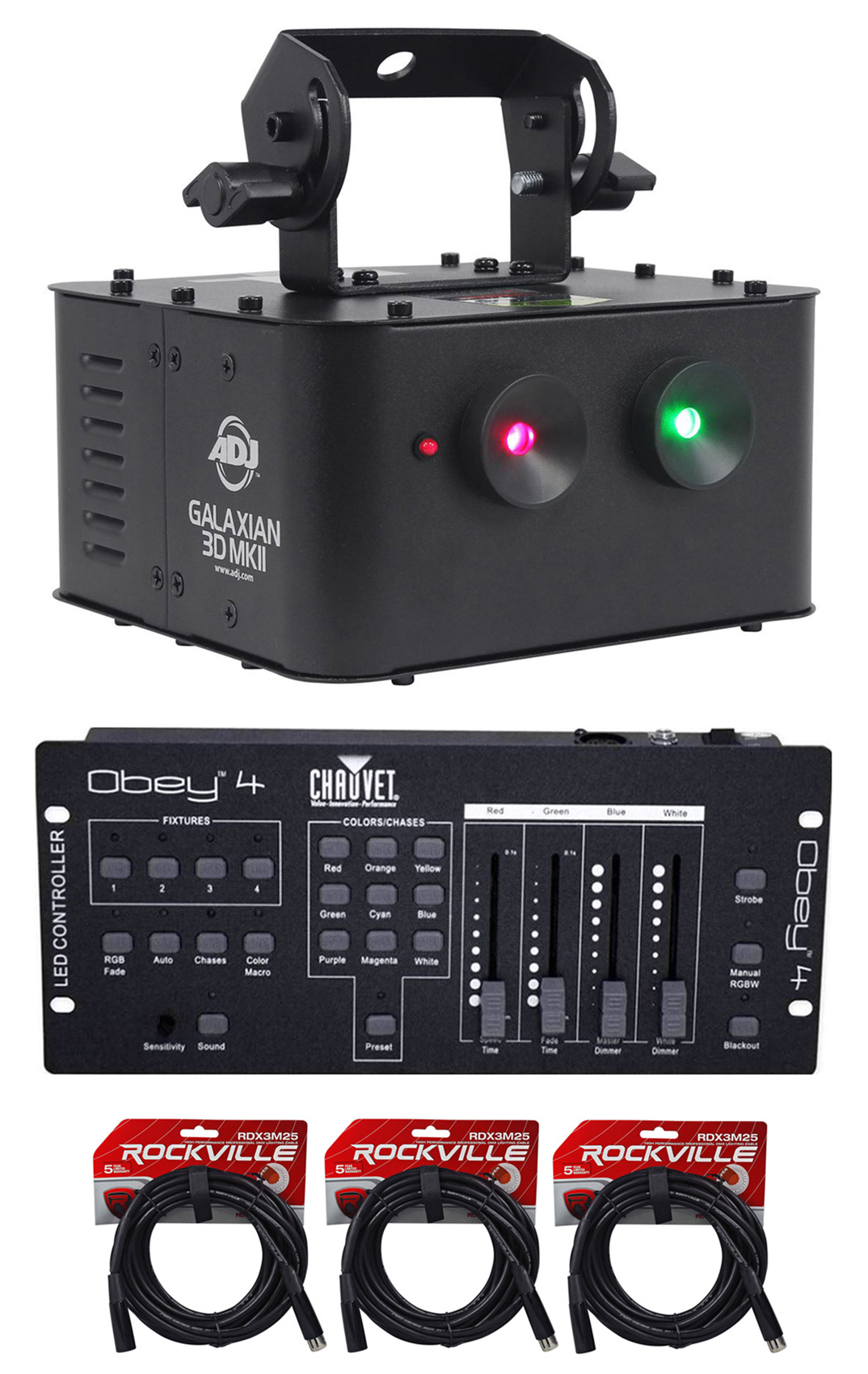American DJ GALAXIAN 3D MKII Dual Laser Effect Club Light+DMX Controller+Cables by American DJ