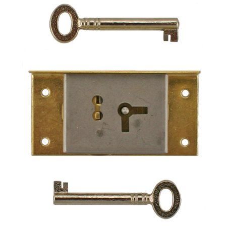 Brass Half Mortise Left Chest Lock W/ Skeleton Keys - Left Hand Door or Drawer Lock - S-20L