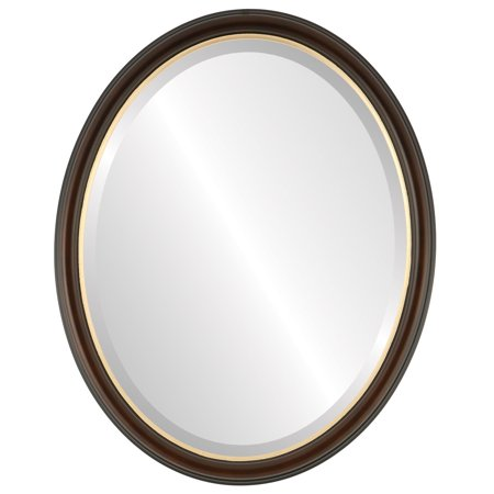 The Oval and Round Mirror Store Hamilton Framed Oval Mirror in Rosewood with Gold Lip - (Oval Rosewood Mix)