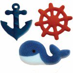 Set of 12 Nautical 1 1/4inch - 2inch Edible Sugar Cake & Cupcake Decoration - Nautical Cakes