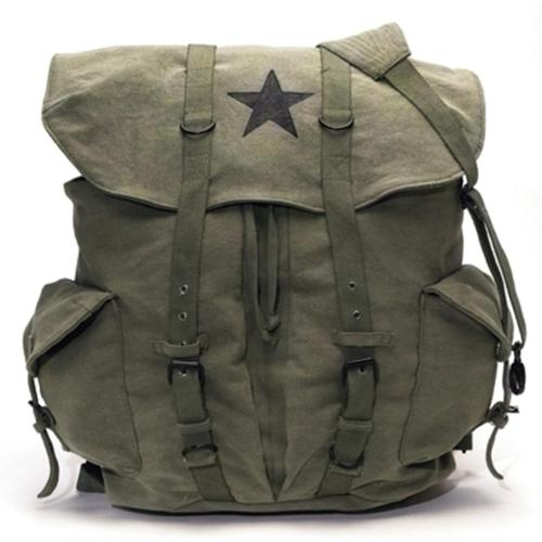 Rothco Vintage Weekender Canvas Backpack with Star, Olive Drab