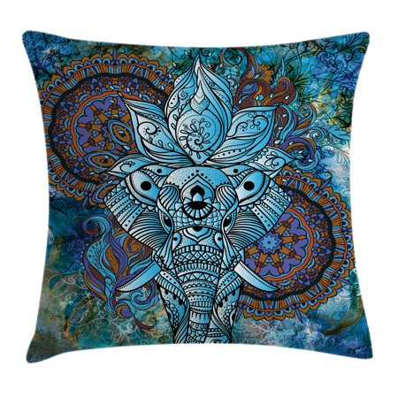 - Indian Throw Pillow Cushion Cover, Elephant Figure with Third Eye Symbol Ornaments Mystical Universe Swirls Boho Image, Decorative Square Accent Pillow Case, 18 X 18 Inches, Blue Brown, by Ambesonne