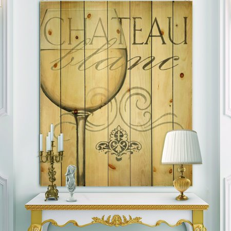 DESIGN ART Designart 'French Chateau White Wine II' Food and Beverage Print on Natural Pine Wood - Grey French Pear Wine