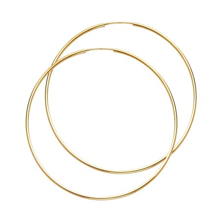 Plain Bright Endless Hoop 1mm Thick Domed Round Earrings Real 14K Yellow Gold Approx. 1 1/2