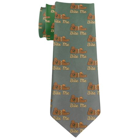Christmas Gingerbread Man Bite Me Funny All Over Neck Tie Multi Standard One Size Funny Necktie Tie