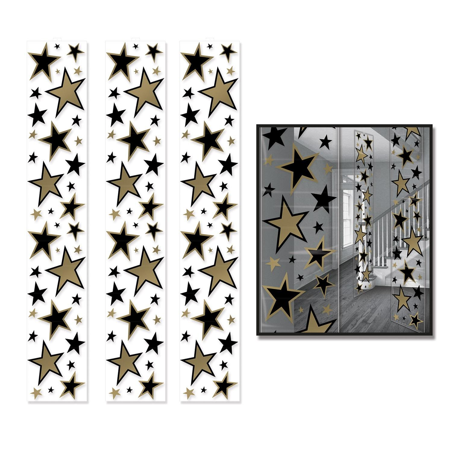 Pack of 36 Black and Gold Star Party Panel Decorations 6'