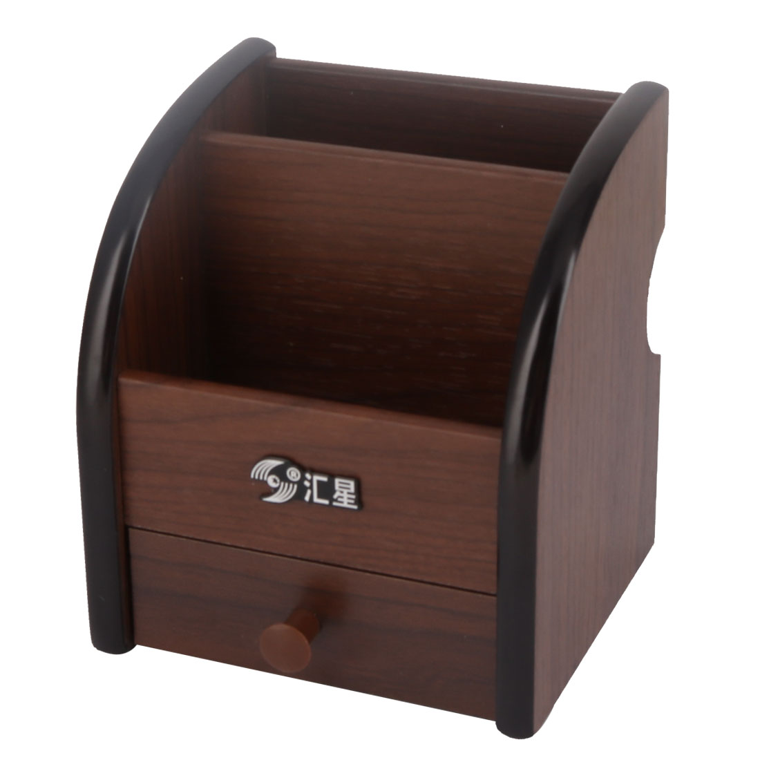 Home Office Desk Wooden Arc Shaped 3 Compartments Drawer Stationery Pen Holder