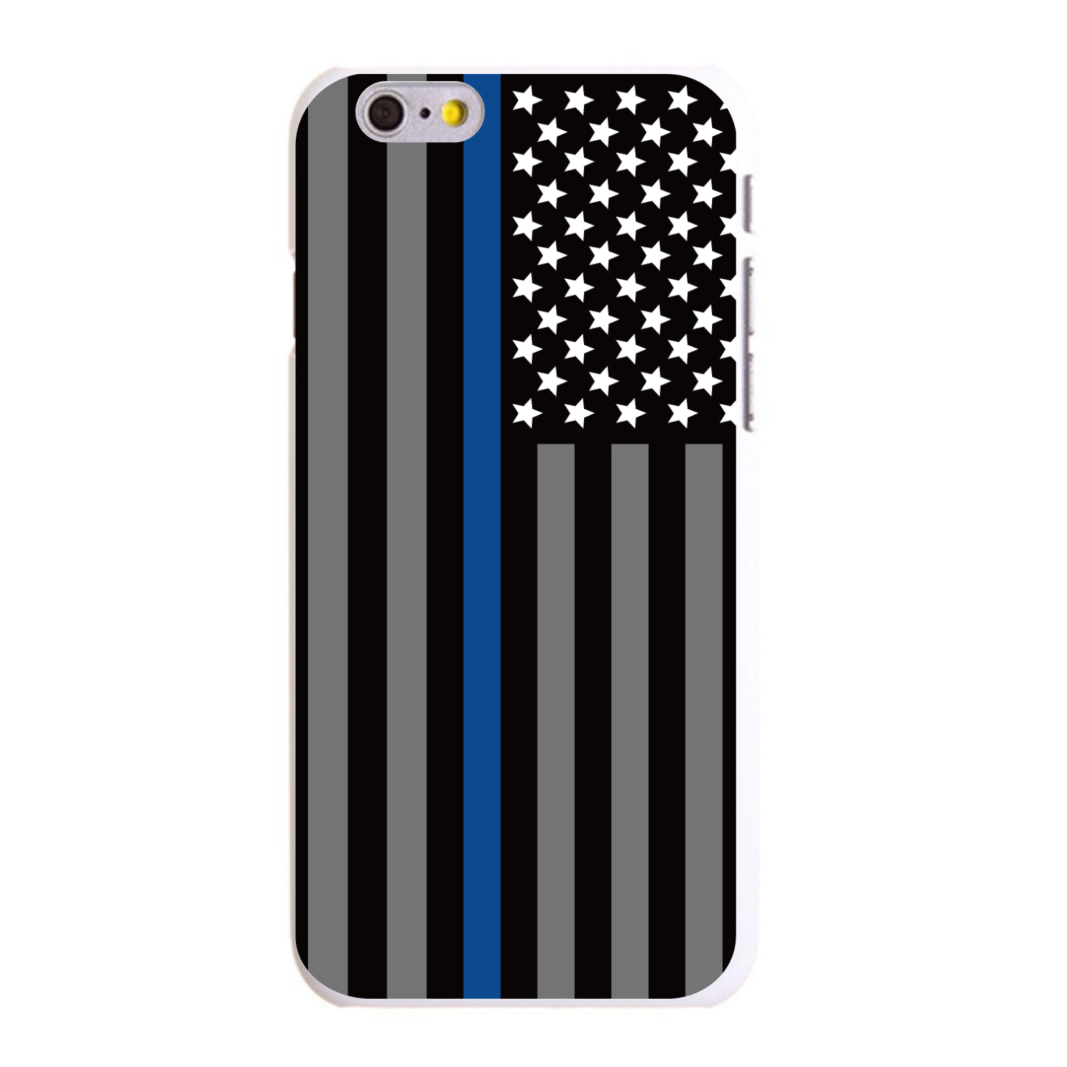 "CUSTOM White Hard Plastic Snap-On Case for Apple iPhone 6 / 6S (4.7"" Screen) - Thin Blue Line US Flag Law Enforcement"