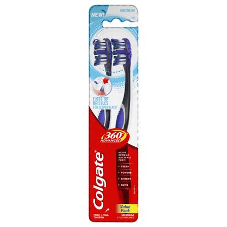 Colgate 360° Total Advanced Floss-Tip Bristles Toothbrush, Medium - 2 (Colgate Total Advanced 4 Zone Toothbrush 6 Pack)