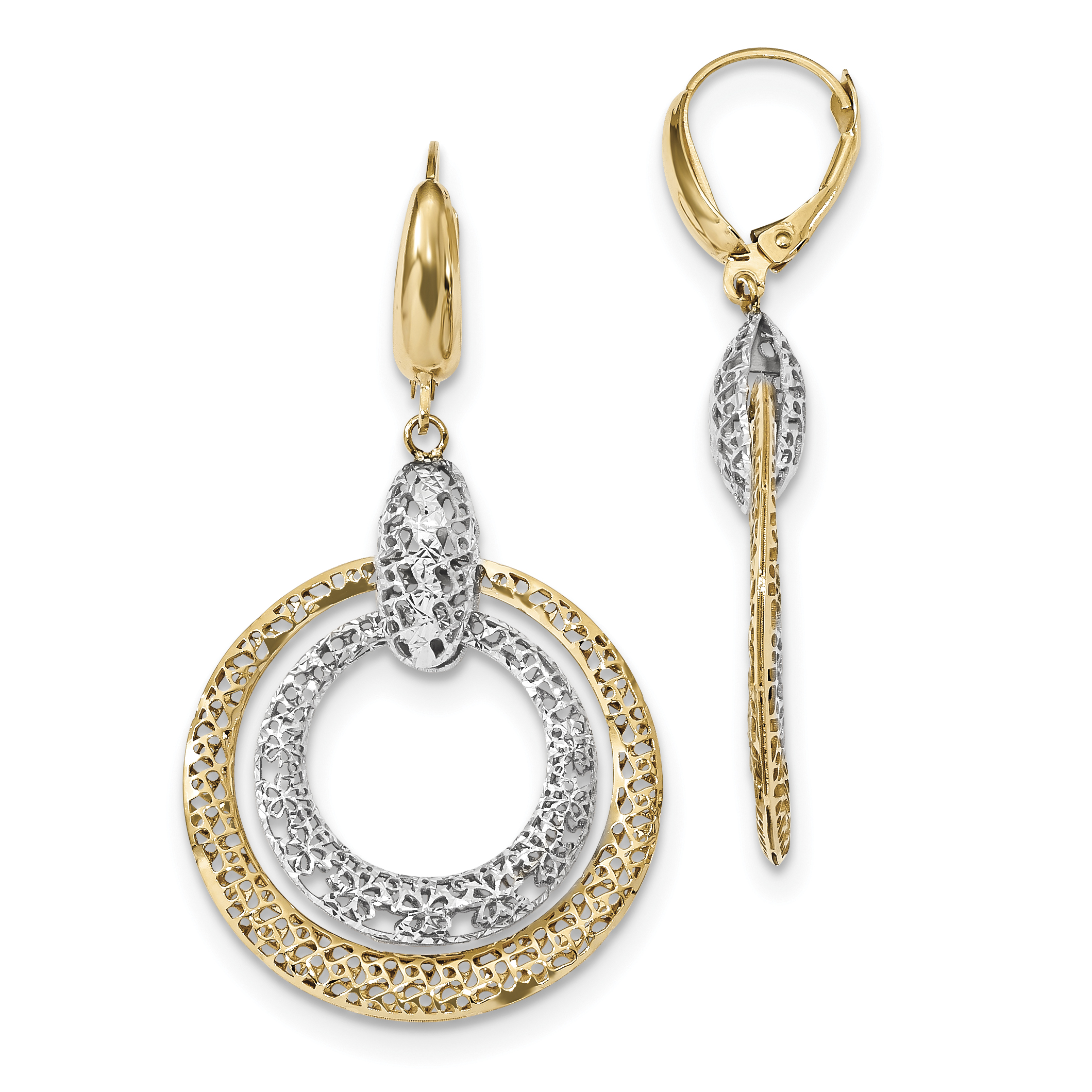 14k Yellow and White Gold Two-tone Polished and Diamond Cut Circle Dangle Leverback Earrings Length 49mm - image 2 de 2