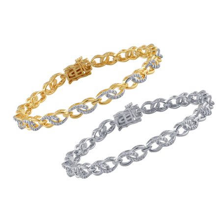 Ladies Link Style Bracelet with Diamond Accents-Yellow