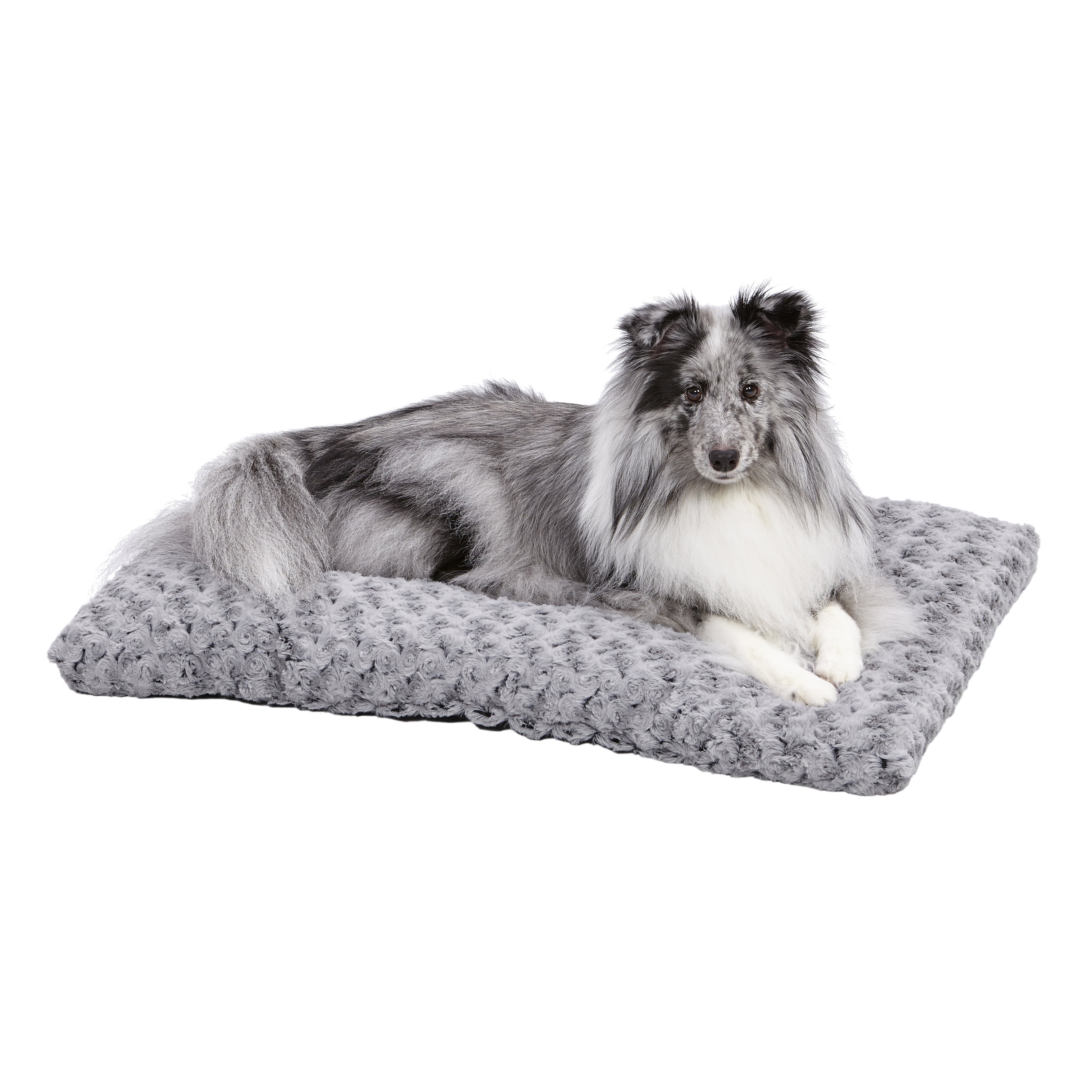 """MidWest Quiet Time Dog Bed & Crate Mat, Deluxe Ombre Swirl, 30"""", Gray"""