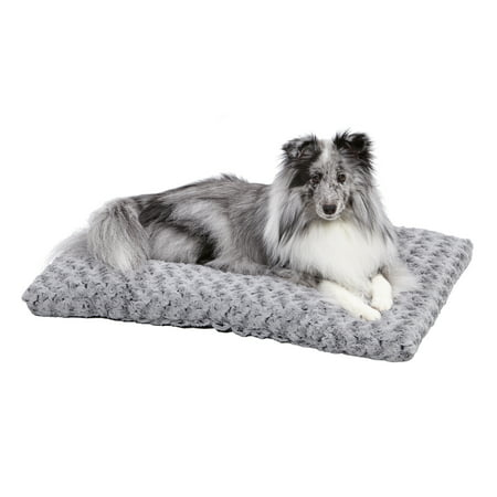 MidWest Quiet Time Dog Bed & Crate Mat, Deluxe Ombre Swirl, 30u0022, Gray