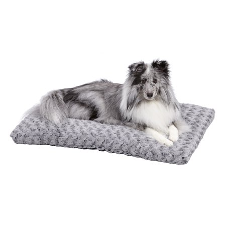 "MidWest Quiet Time Dog Bed & Crate Mat, Deluxe Ombre Swirl, 30"", Gray"