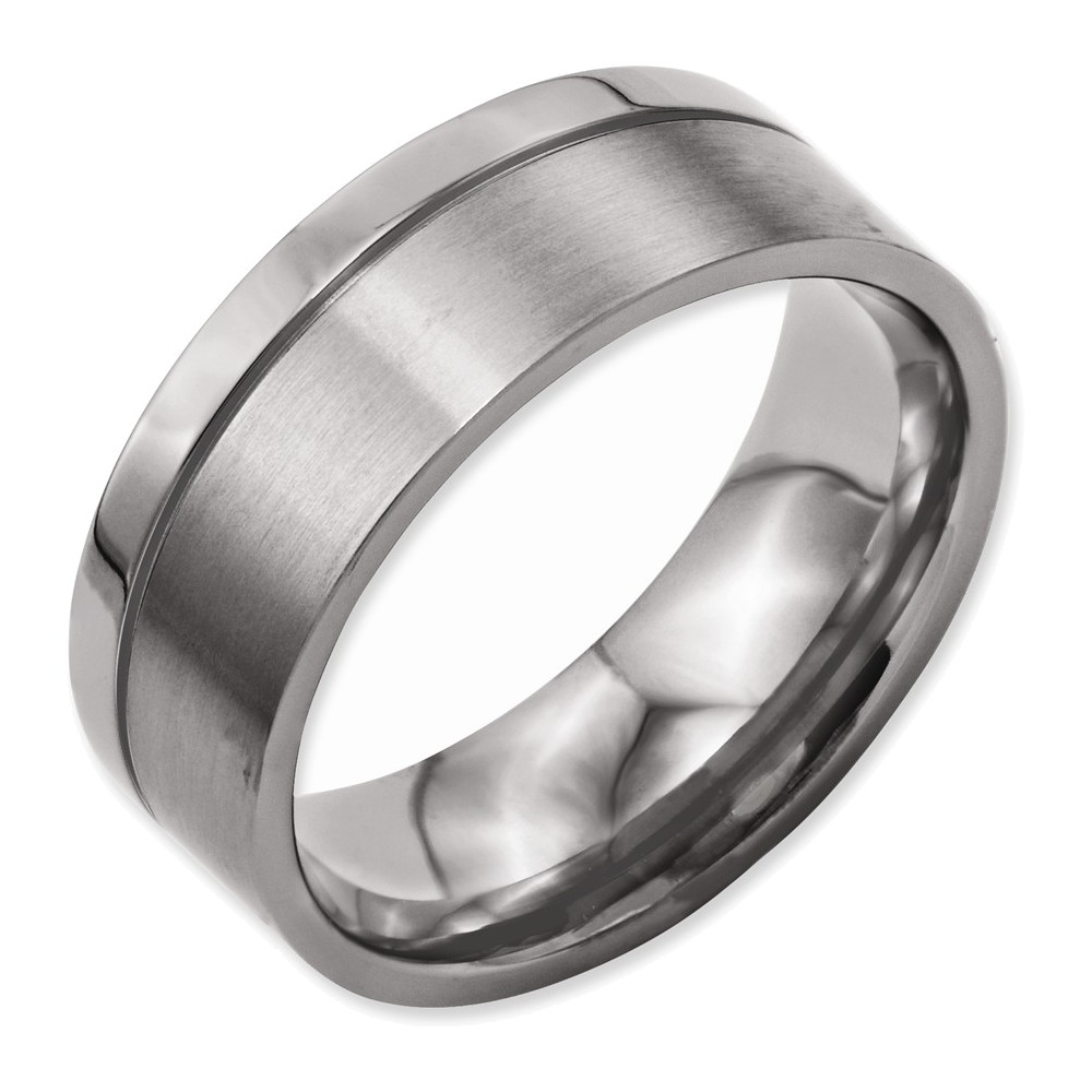 Titanium Grooved 8mm Brushed and Polished Band Size 10.5