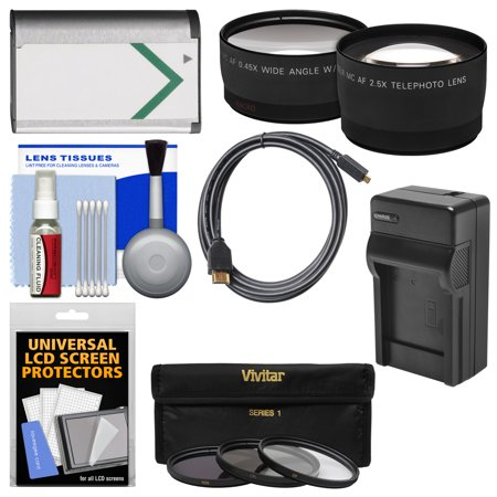 Essentials Bundle for Sony Cyber-Shot DSC-RX1, RX1R, RX1R II Digital Camera with NP-BX1 Battery & Charger + HDMI Cable + Tele/Wide Lenses + 3 UV/ND8/CPL Filters Kit
