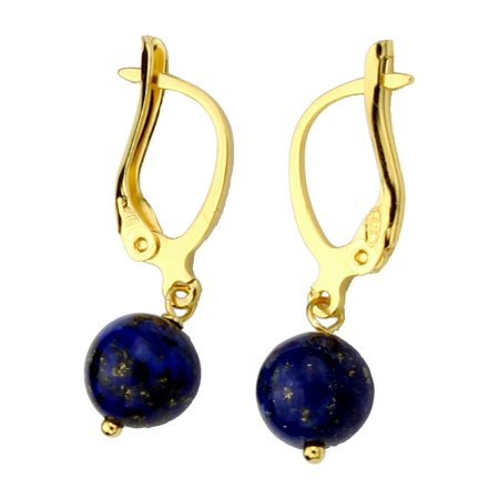 Lapis Sterling Silver Post Earrings (Blue Lapis Stone 8mm Bead Gold-Plated Sterling Silver Leverback Earrings)