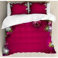 Christmas Duvet Cover Set, Festive Traditional Composition with Fir Branches Vivid Balls Snowflakes, Decorative Bedding Set with Pillow Shams, Magenta Green White, by Ambesonne