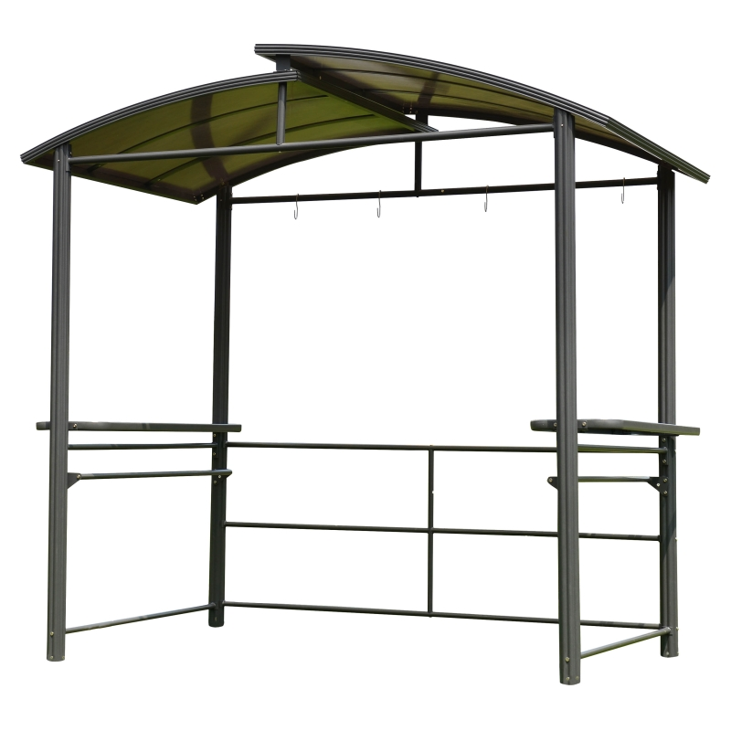 Aleko Steel Hardtop BBQ Gazebo with Serving Tables - 8 x 5 x 8 Feet - Brown