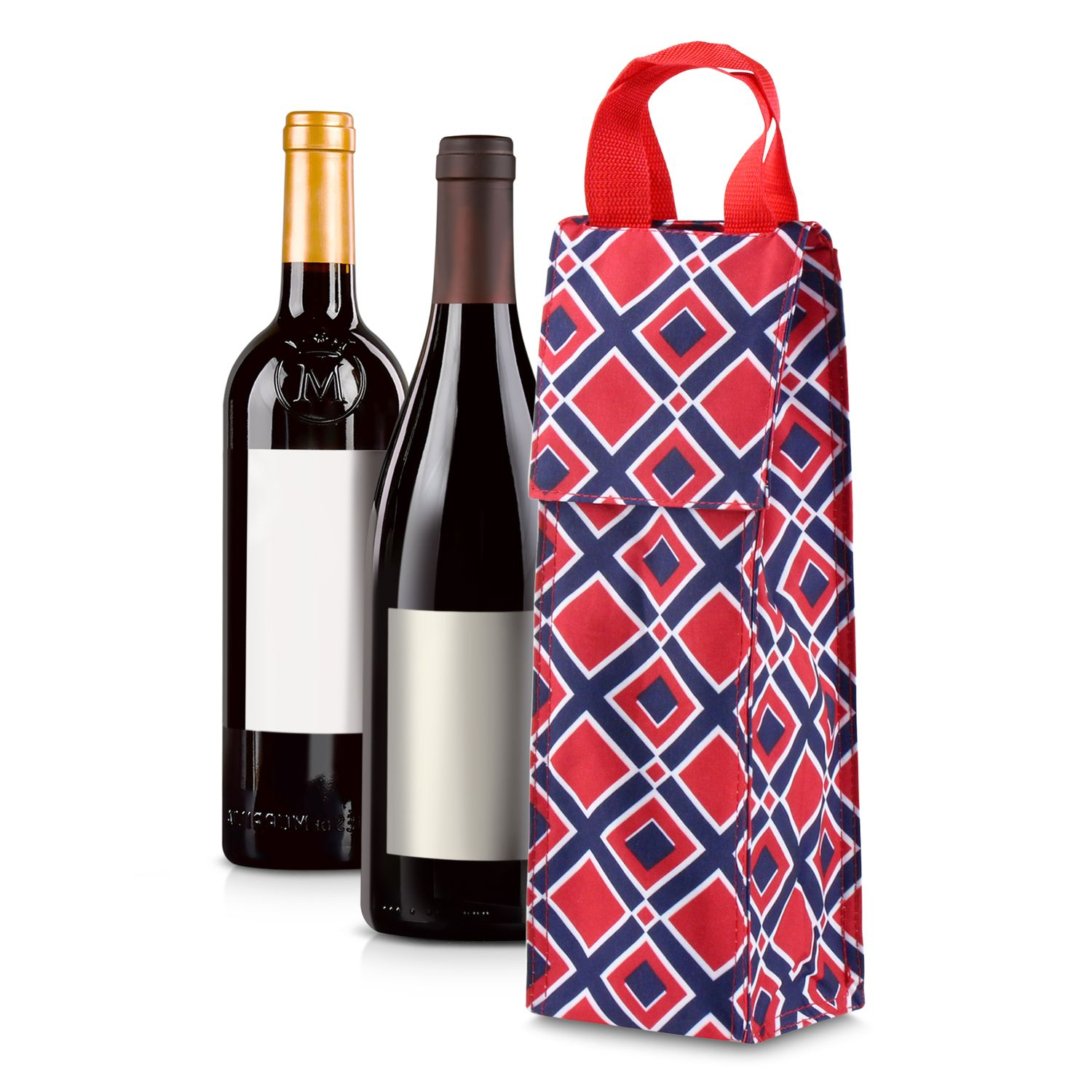 Wine Carrier Bag by Zodaca Thermal Insulated Lightweight Wine Bottle Tote Carrying Case Whisky Glass Bottle Carry Holder Bag for Travel Party Gift - Red/Navy Times Square