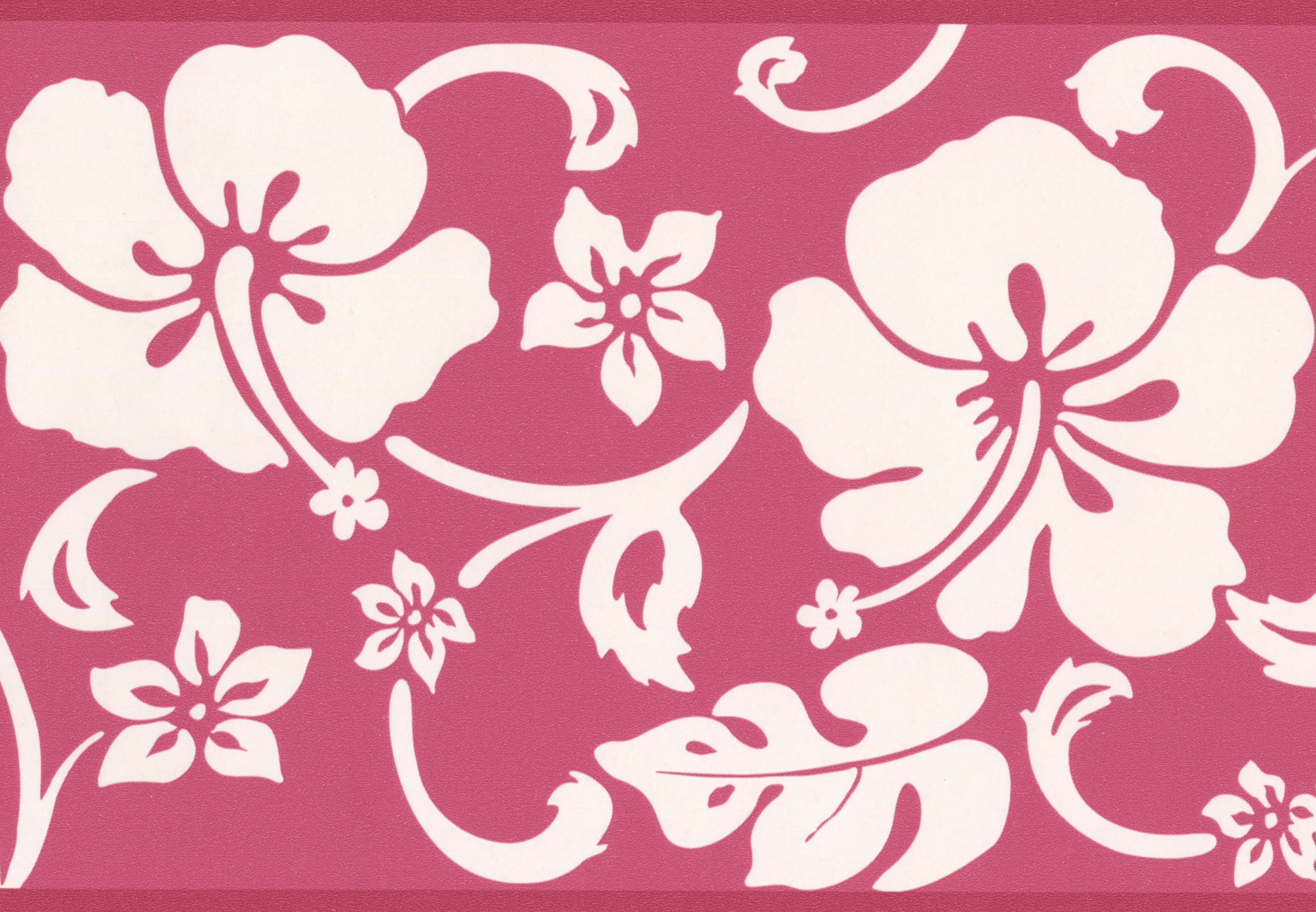 Abstract Floral Modern Wallpaper Border White On Red Design Roll 15 X 6