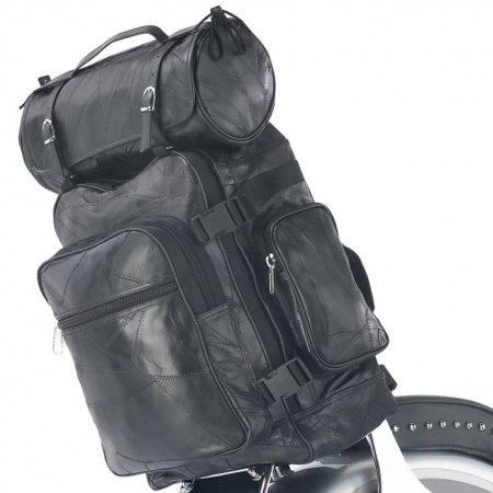(Diamond Plate 3pc Rock Design Genuine Buffalo Leather Motorcycle Bag Set)