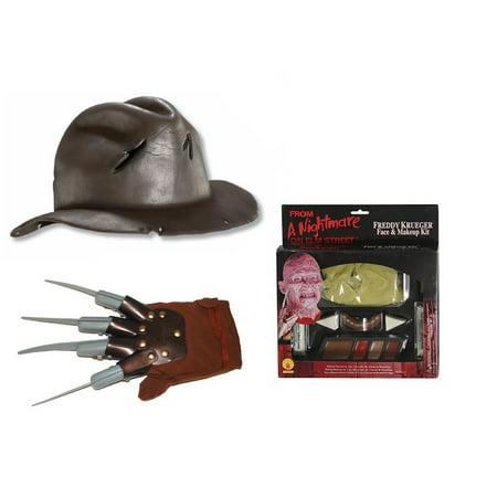 Elm St Freddy Krueger Makeup Glove Hand Claw Nails Hat Halloween Costume Kit