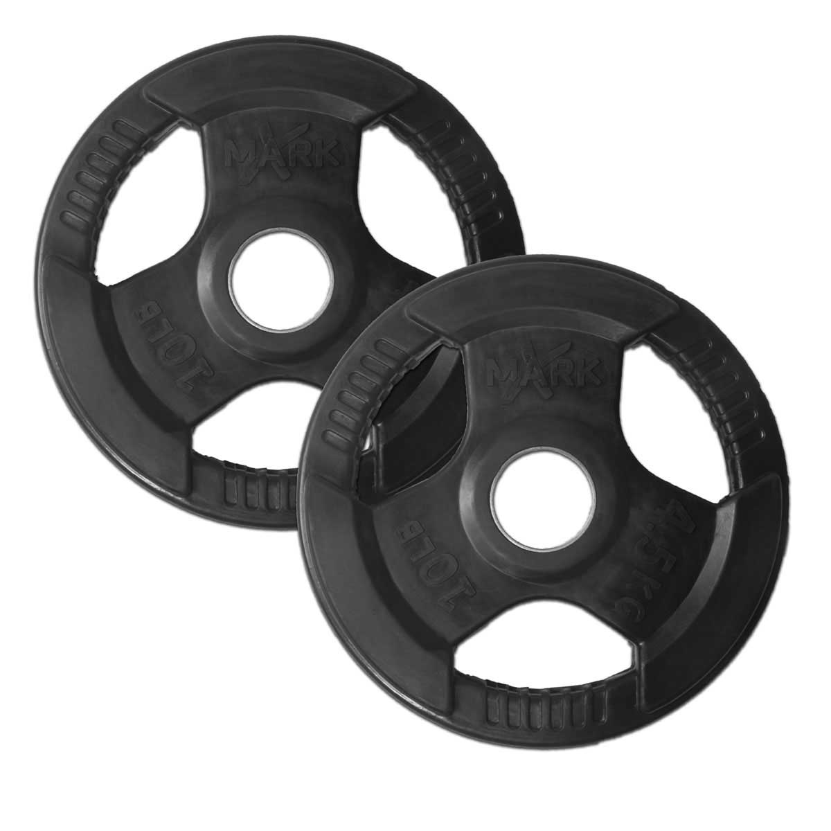XMark Rubber Coat Tri-grip Olympic Plate Weights-10lb (Pair)