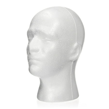 LuckyFine 11' Male Foam Wig Head Styrofoam, Mannequin Head Hat Glasses Display Holder Model](Styrofoam Skull Head)